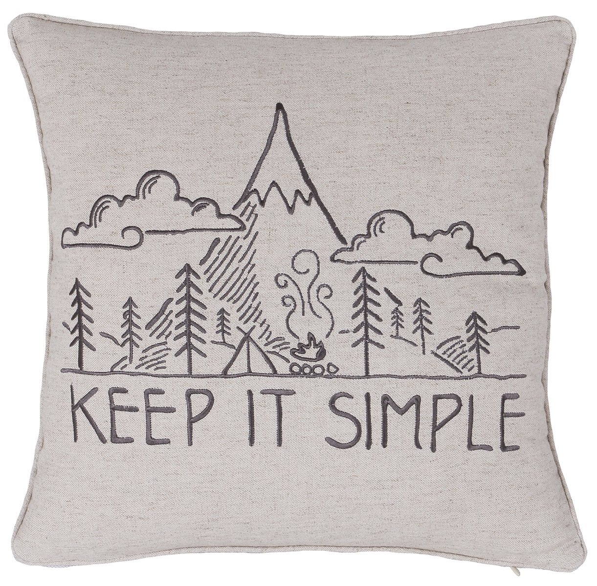 ADecor Pillow Covers Keep it simple Quote Pillowcase Embroidered Pillow cover Decorative Pillow Standard Cushion Cover Gift Love Inspiration Teen Boys Girls Gift (18X18, Linen)