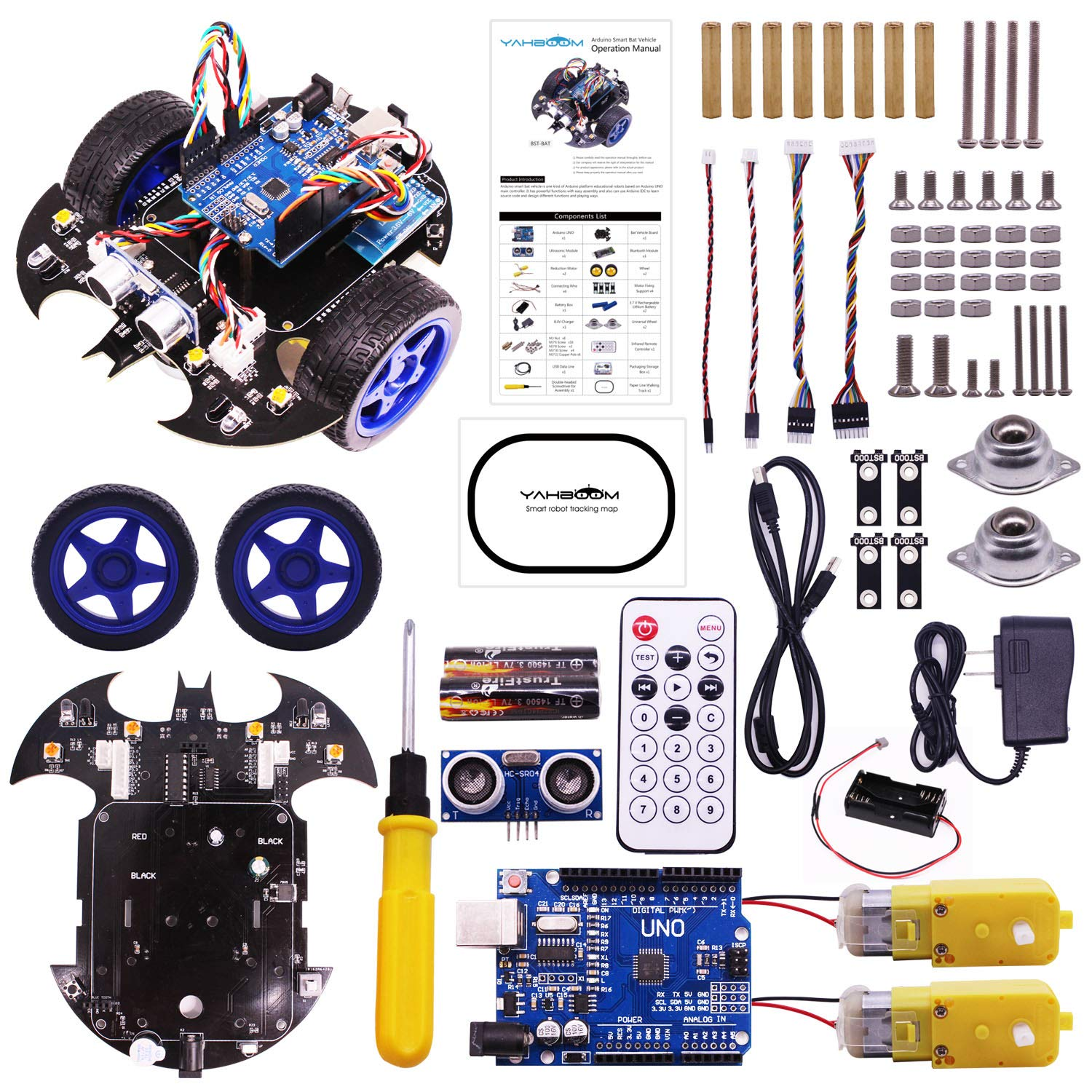 Yahboom-maker Robotics Starter Learning Building Kits Robot Car Kit for Arduino UNO R3 Scratch 3.0 Bat Smart Robots Toy for Programmable STEM Educational Toys with Tutorial for Kids 8+ and Adults