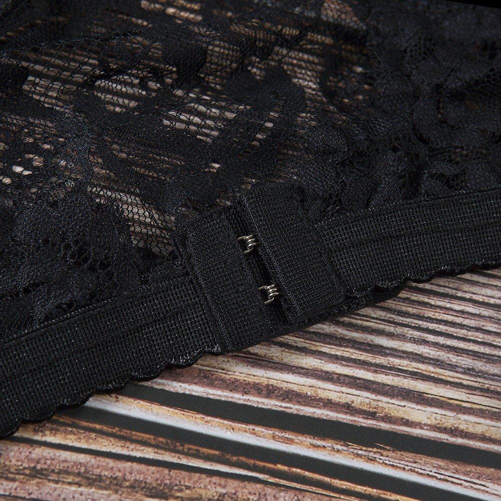 Women Tank Tops Sleeveless Lace Splice V-Neck Bra Vest T-Shirt Crop Blouse (M, Black) by Yihaojia Women Blouse (Image #6)