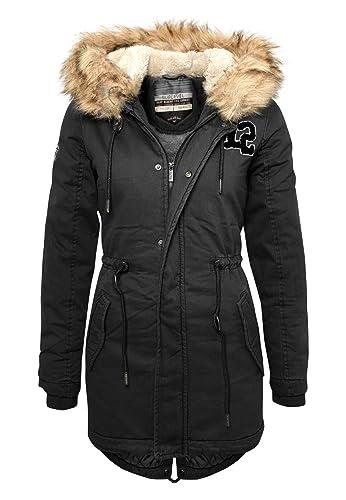 SUBLEVEL Mujer - Parka de invierno con pelo sintético en la capucha | Abrigo largo de mujer en negro...