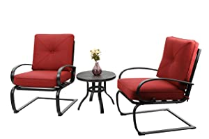 PHI VILLA Outdoor Springs Motion Chairs and Round Table Bistro Furniture Set with Red Cushioned Seats