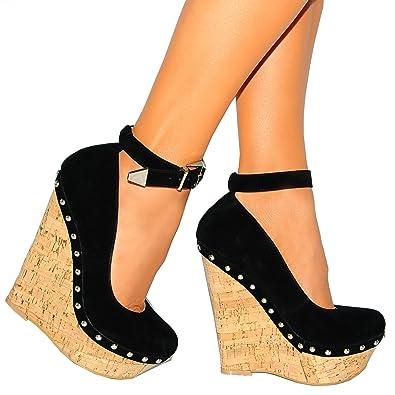 09bd40ef25 Ladies Womens Black Faux Suede Cork Wedged Platforms High Heels Wedges Gold  Buckle Metal Ankle Cuff