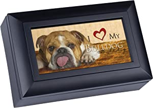 Cottage Garden Love My Bulldog Matte Black Jewelry Music Box Plays Wonderful World