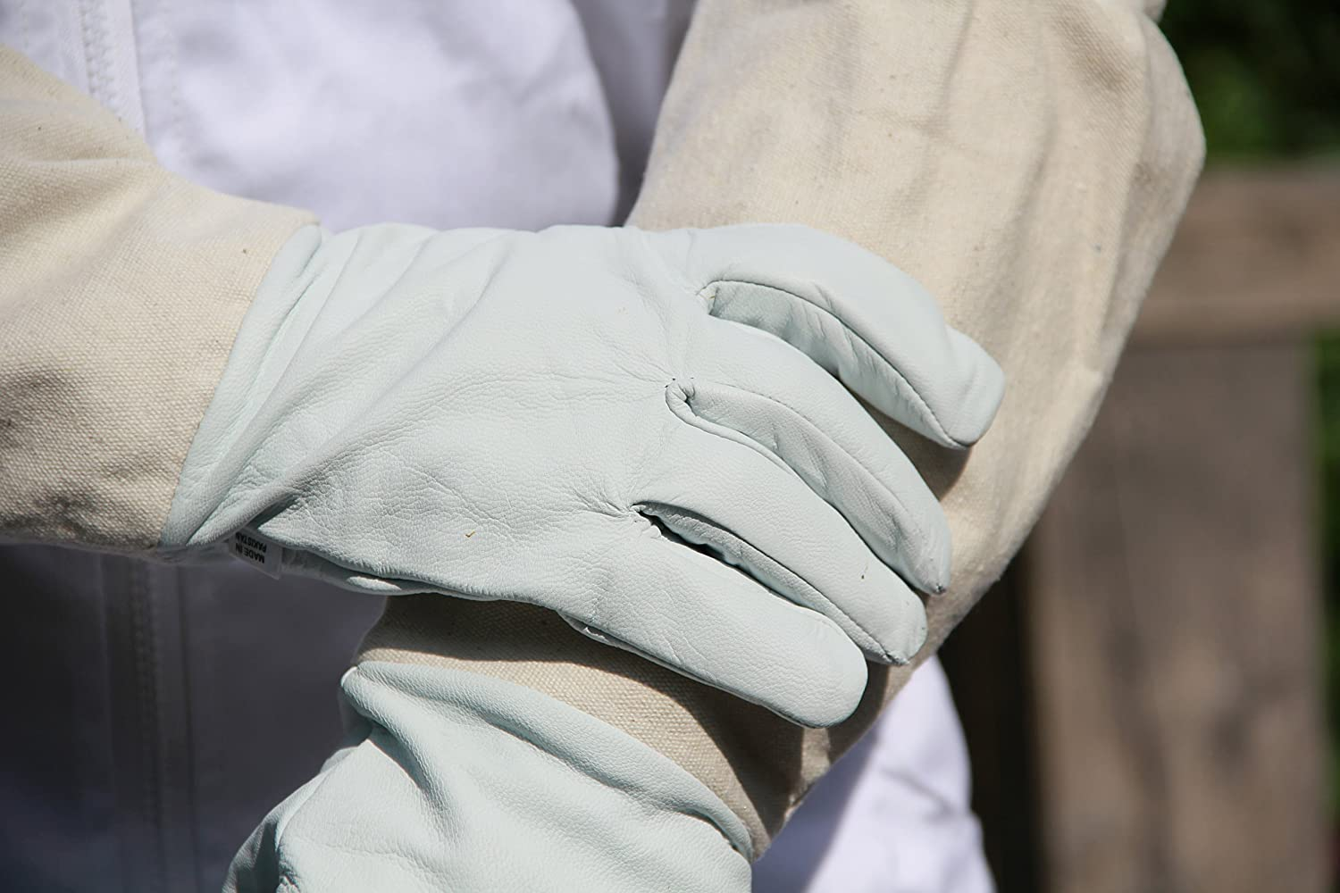 Beekeeping Gloves - Soft White Goats Leather with Cotton Gauntlets All Sizes (S) Flyingstart