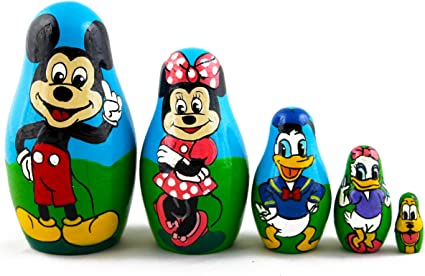 Matryoshka Russian Nesting Doll Wooden Babushka Mickey Mouse Donald Duck 5 Pc