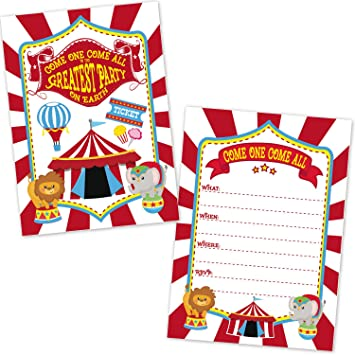 Carnival Circus Birthday Party Invitations For Kids 20 Count With Envelopes