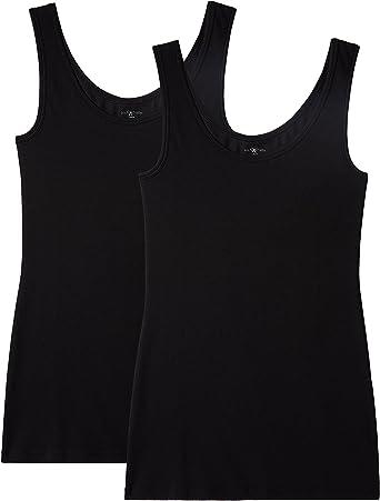 IRIS & LILLY Camiseta de Tirantes de Algodón para Mujer, Pack de 2, 2 x Negro, XX-Large: Amazon.es: Ropa y accesorios
