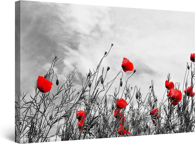 Startonight Cuadro Moderno en Lienzo - Blanco y Negro con Amapolas Rojas - Pintura Flores para Salon Decoración Grande 80 x 120 cm