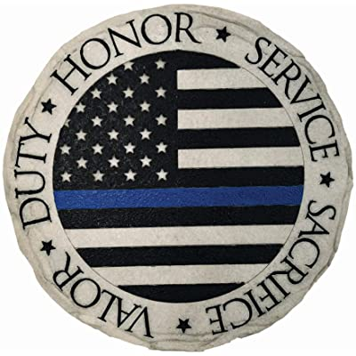 Spoontiques 13326 Police Blue Line Stepping Stone, Multicolor : Garden & Outdoor