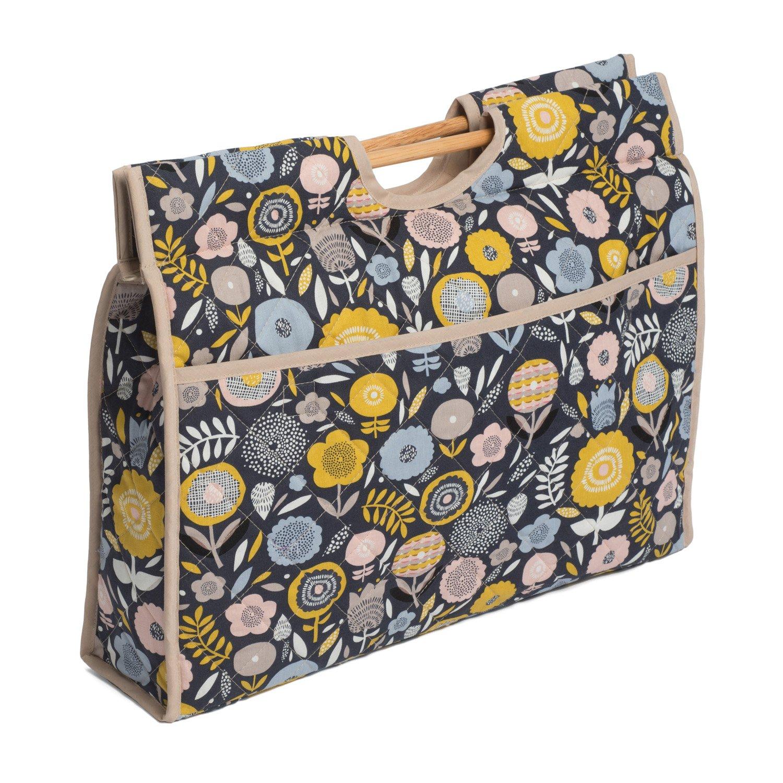 Hobbygift HGCB\237 Bloom Print Wooden Handles Craft Bag