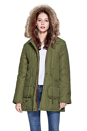 468ccc129 Freeprance Winter Coats for Women Parka Jacket Coat with Faux Fur Lining  Hood