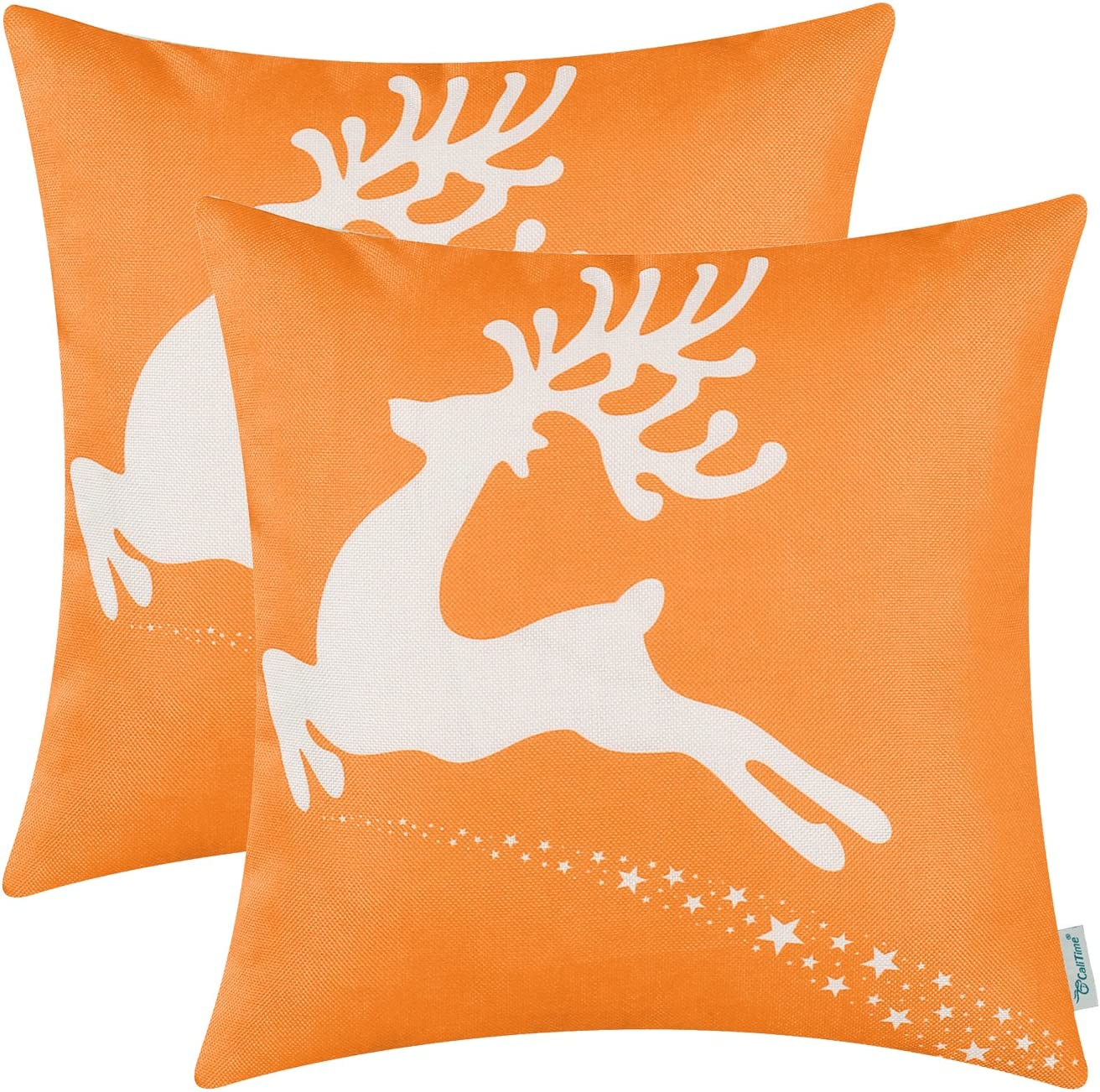 CaliTime Pack of 2 Soft Canvas Throw Pillow Covers Cases for Couch Sofa Home Decoration Christmas Holiday Reindeer with Stars Print 18 X 18 Inches Bright Orange