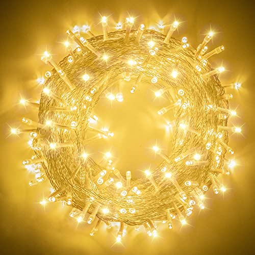 XUNXMAS String Lights Indoor Outdoor, Super Bright Warm White Christmas Lights with 8 Lighting Modes, 66FT 200 LED Waterproof Decorative Lights for Bedroom Garden Patio Christmas Tree Decor