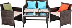 Do4U Outdoor Patio Furniture Set 4 Pcs PE Rattan Wicker Garden Sofa and Chairs Set with Beige Cushion with Table (Mix-Beige)