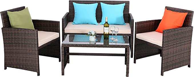 Do4U 4 pcs Patio Furniture Set – The Outdoor Loveseat with a Table Tempered Glass Top