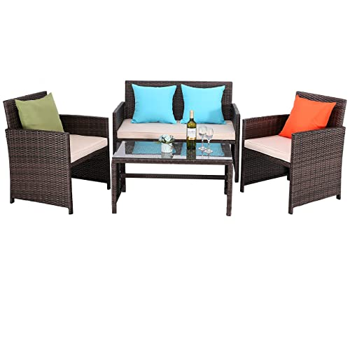 Do4U Outdoor Patio Furniture Set 4 Pcs PE Rattan Wicker Garden Sofa and Chairs Set with Beige Cushion with Table Mix-Beige