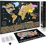 Amazon.com: Scratch Off World Map with States and Capital Cities ...