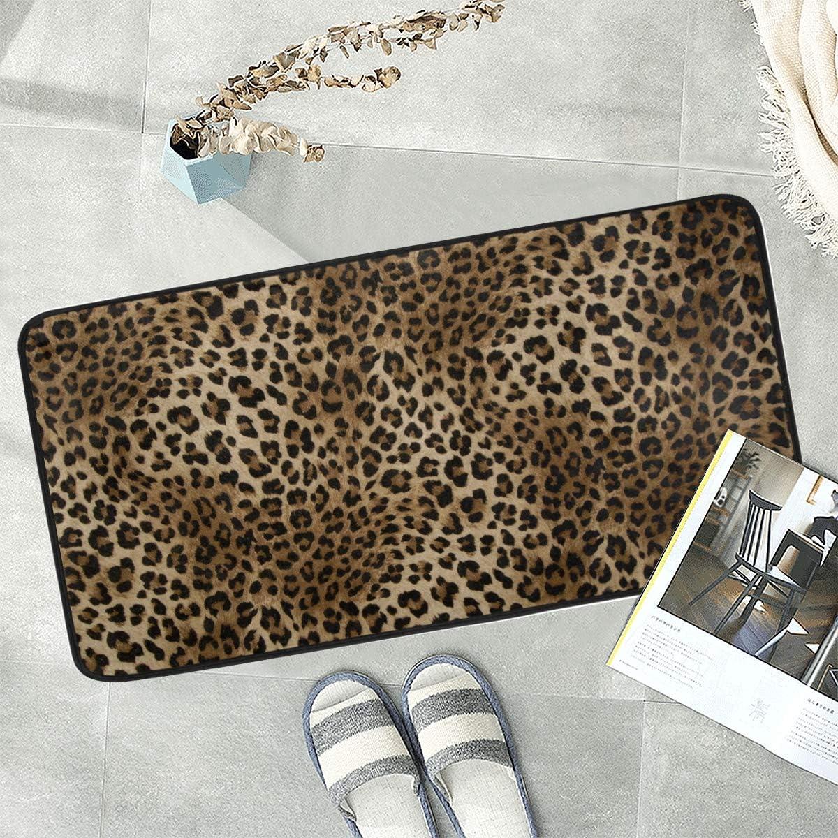 Naanle Animal Print Anti Fatigue Kitchen Floor Mat, Leopard Non Slip Absorbent Comfort Standing Mat Kitchen Runner Rug for Hallway Entryway Bathroom Living Room Bedroom 39 x 20 Inches