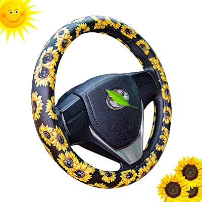 Leather Sunflower Steering Wheel Cover Cute and Handmade,Fashionable Boho Universal Steering Wheel Cover 15 inch,Top Girl Sunflower Car Accessories for Women(Sunflower,Leather): Automotive