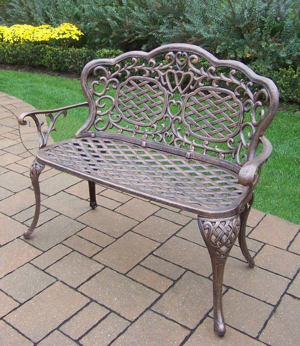 Oakland Living Mississippi Cast Aluminum Love Seat Bench, Antique Bronze