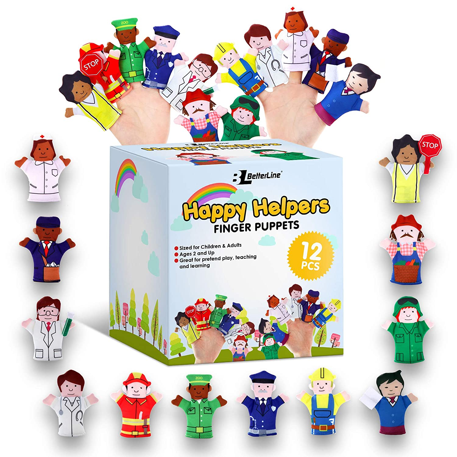 BETTERLINE Happy Helper Finger Puppets 12-Piece Set - Teach and Learn with a Variety of Neighborhood Characters - Fits Adult and Children Fingers