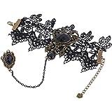 Yazilind Black Lace Armbänder mit Ring Lolita Acryl Perlen Anhänger Kette Metall- Halloween -Hochzeitsfest für Frauen