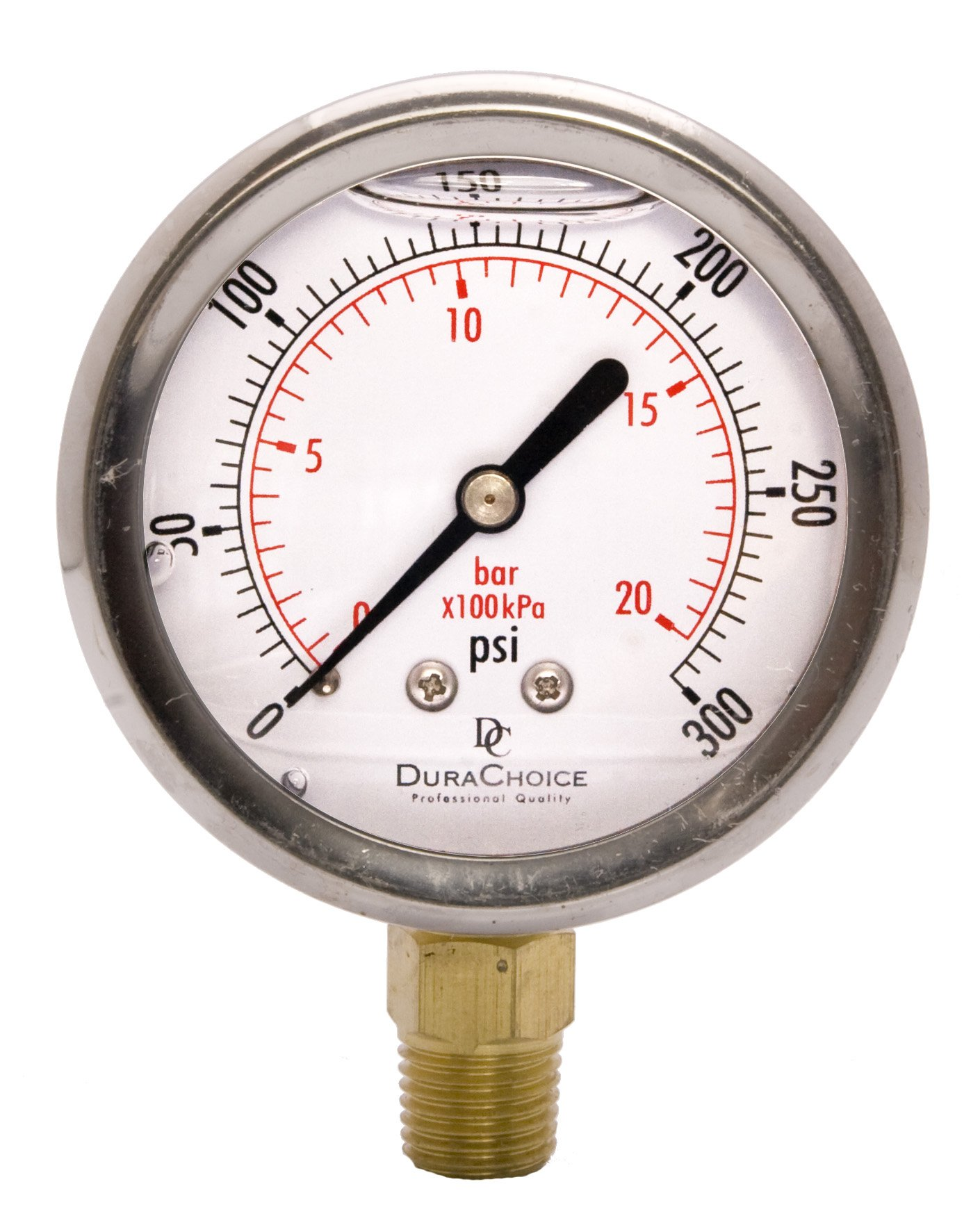 2-1/2'' Oil Filled Pressure Gauge - Stainless Steel Case, Brass, 1/4'' NPT, Lower Mount Connection 0-300PSI