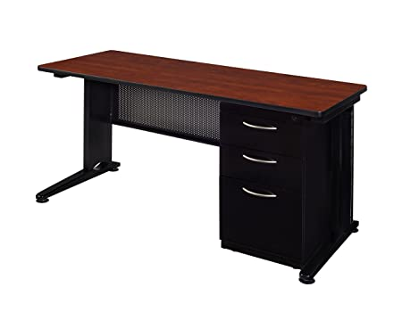 Regency Fusion 66 x 24 Single Pedestal Desk- Cherry
