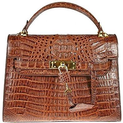 Women s Real Alligator Handbag Purse Bag W Lock M Brown  Handbags   Amazon.com 50277449c