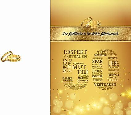 Elegante Glückwunschkarte Goldhochzeit Goldene Hochzeit 50