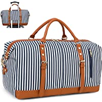 CAMTOP Weekender Bag Women Ladies Overnight Travel Bag PU Leather Trim Carry-on Duffle with Shoe Compartment (Navy Blue Stripe)