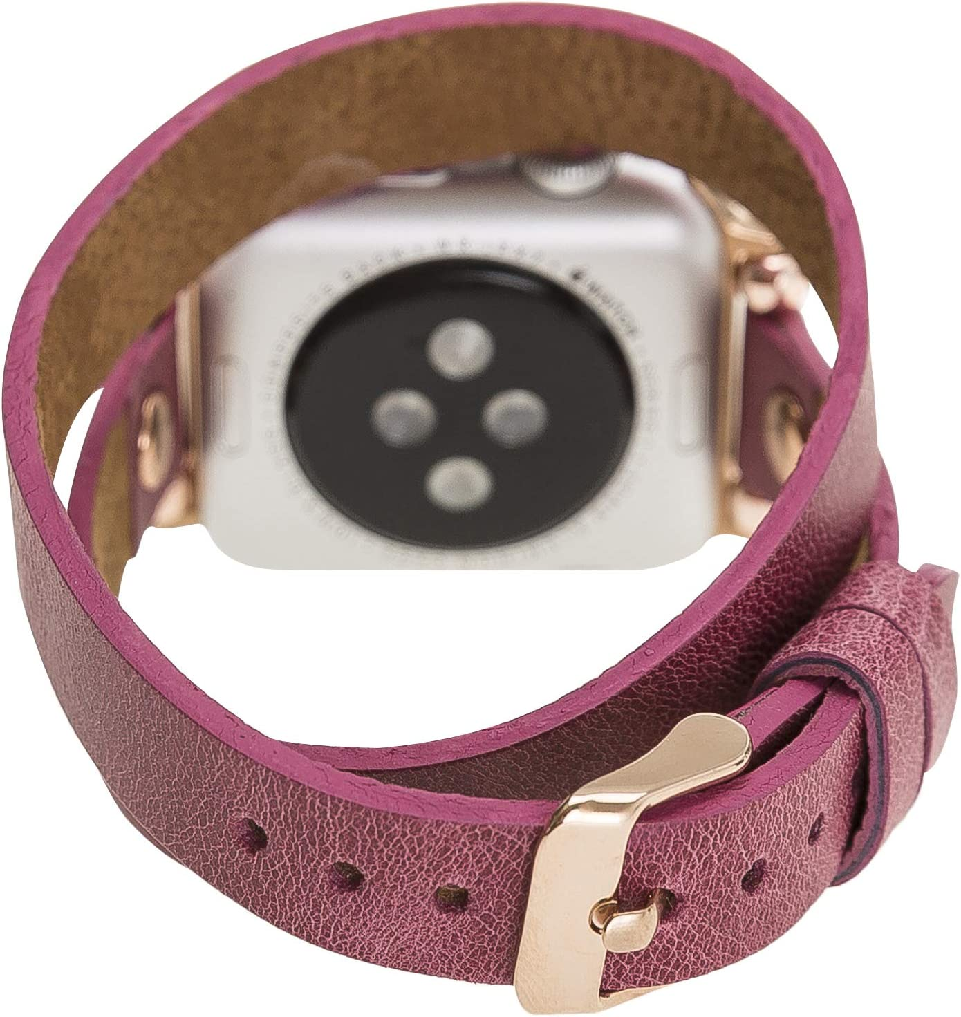 Renna Genuine Leather Slim Style Band 44mm 42mm 40mm 38mm, Handmade Leather Band for Women Men Strap Bracelet for iWatch series new SE, 6 and 5 4 3 2 1 (Claret Red Double Wrap, Rose Gold Connector, 38mm-40mm)