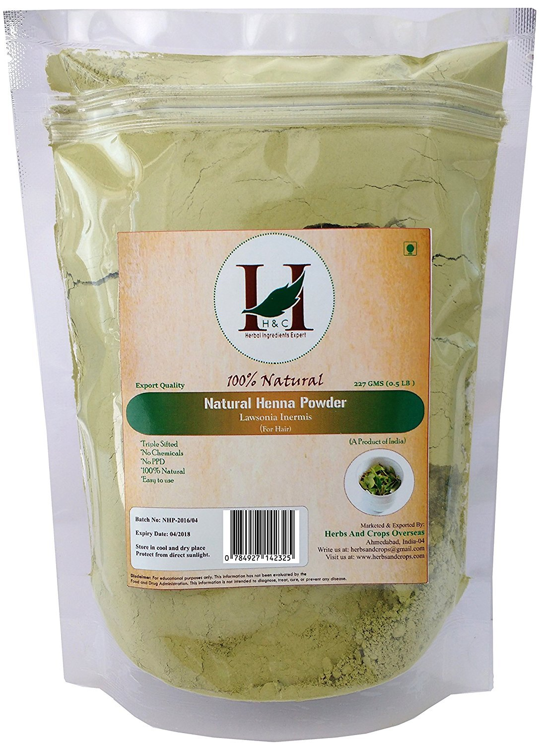 H&C 100% Natural and Pure Henna Powder / Lawsonia Inermis (Organically Grown) 227 gms (1/2 LB) for Hair