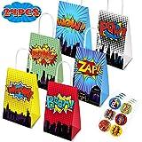Superhero Party Supplies Favors, 24PC Superhero Party Bags For Superhero Theme Birthday Party Decorations with 24 Superhero S