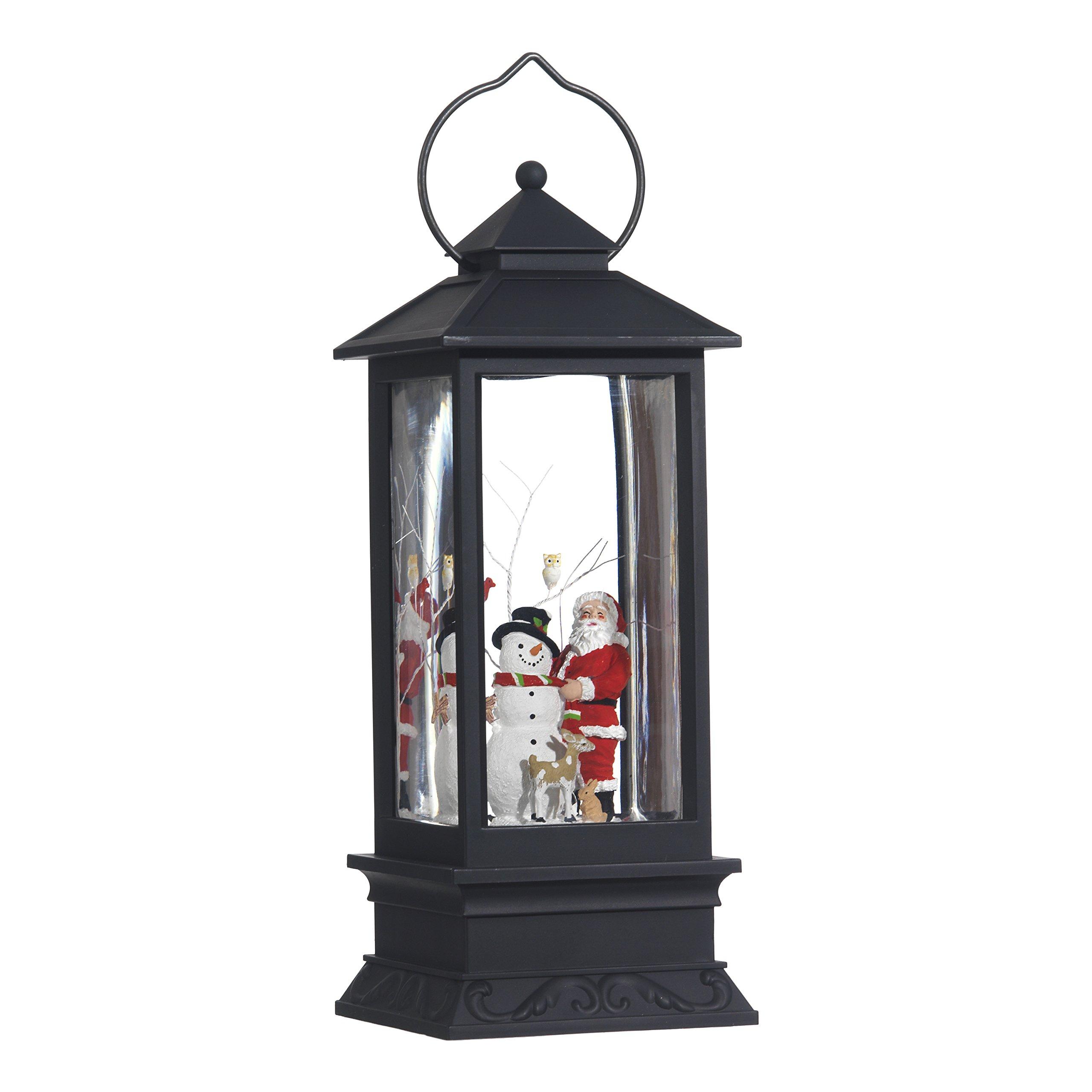 Lighted Snow Globe Lantern: 11 Inch, Black Holiday Water Lantern by RAZ Imports (Santa and Snowman)