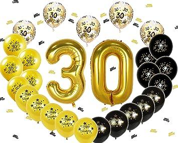 Ohighing 30th Birthday Decorations Luftballons Schwarz Gold Ballons 30 Folienballons
