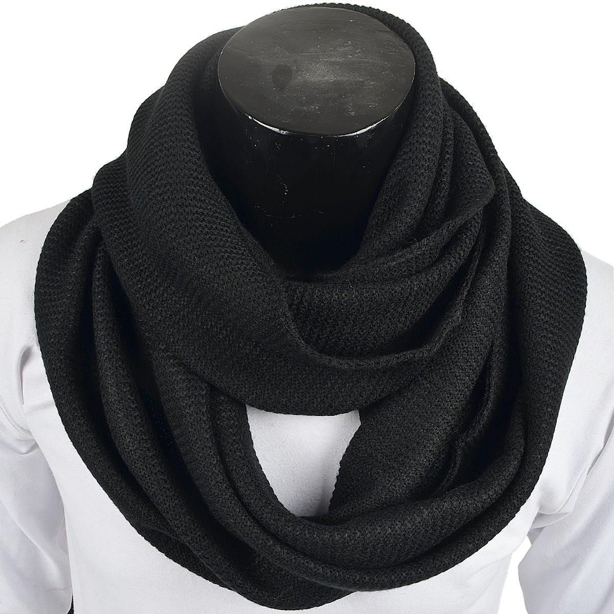 Men Scarf Knit Infinity Scarf Winter Soft Warm Scarves (Black)