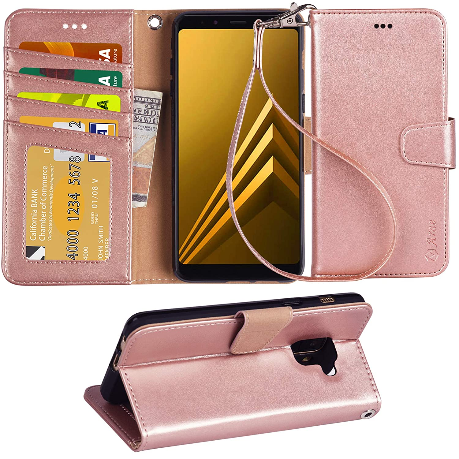 Galaxy a8 2018 Case, Galaxy a8 2018 Holster Arae [Wrist Strap] Flip Folio [Kickstand Feature] PU Leather Wallet case with [4 Slots] ID&Credit Cards Pockets for Galaxy a8 2018 Wallet Case (Rose Gold)