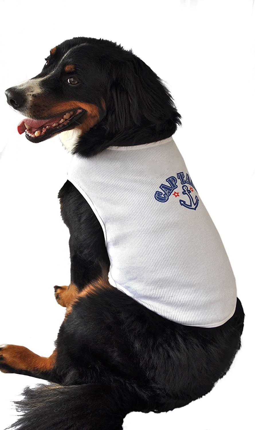 Ruff Ruff and Meow Small Dog Tank Top, Captain, White