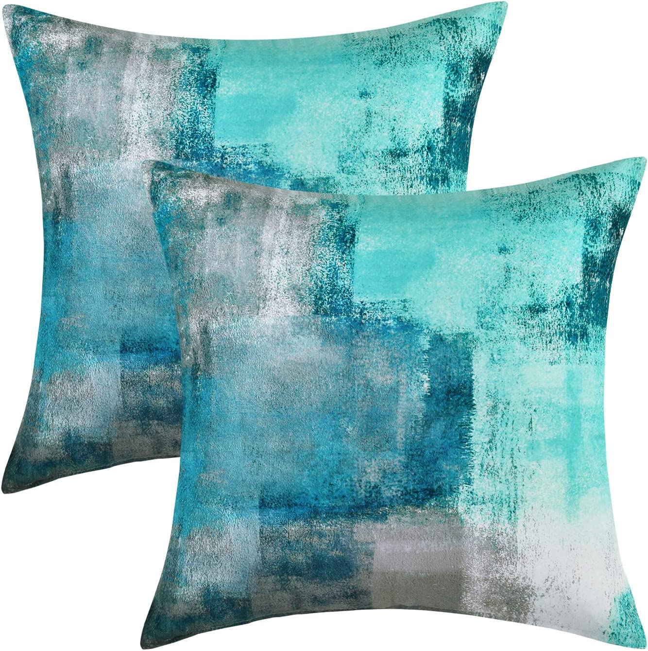 Yastouay 2 Pack Teal and Grey Decorative Throw Pillows Covers 18 x 18 inch Turquoise Pillow Cover Modern Contemporary Pillow Cover Home Decor Cushion Cover for Sofa Bed Living Room Bedroom
