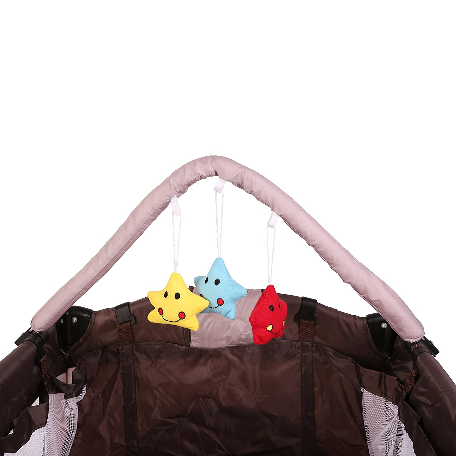 KIDUKU/® Baby bed travel cot crib portable child bed folding bed bedside cot playpen 6 different colours second level for infants//babies Brown height-adjustable