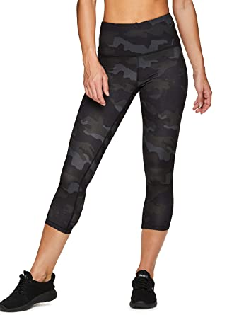 6a642c63e4b424 RBX Active Women's Running Workout Yoga Peached Camo Capri Legging Black  Camo S