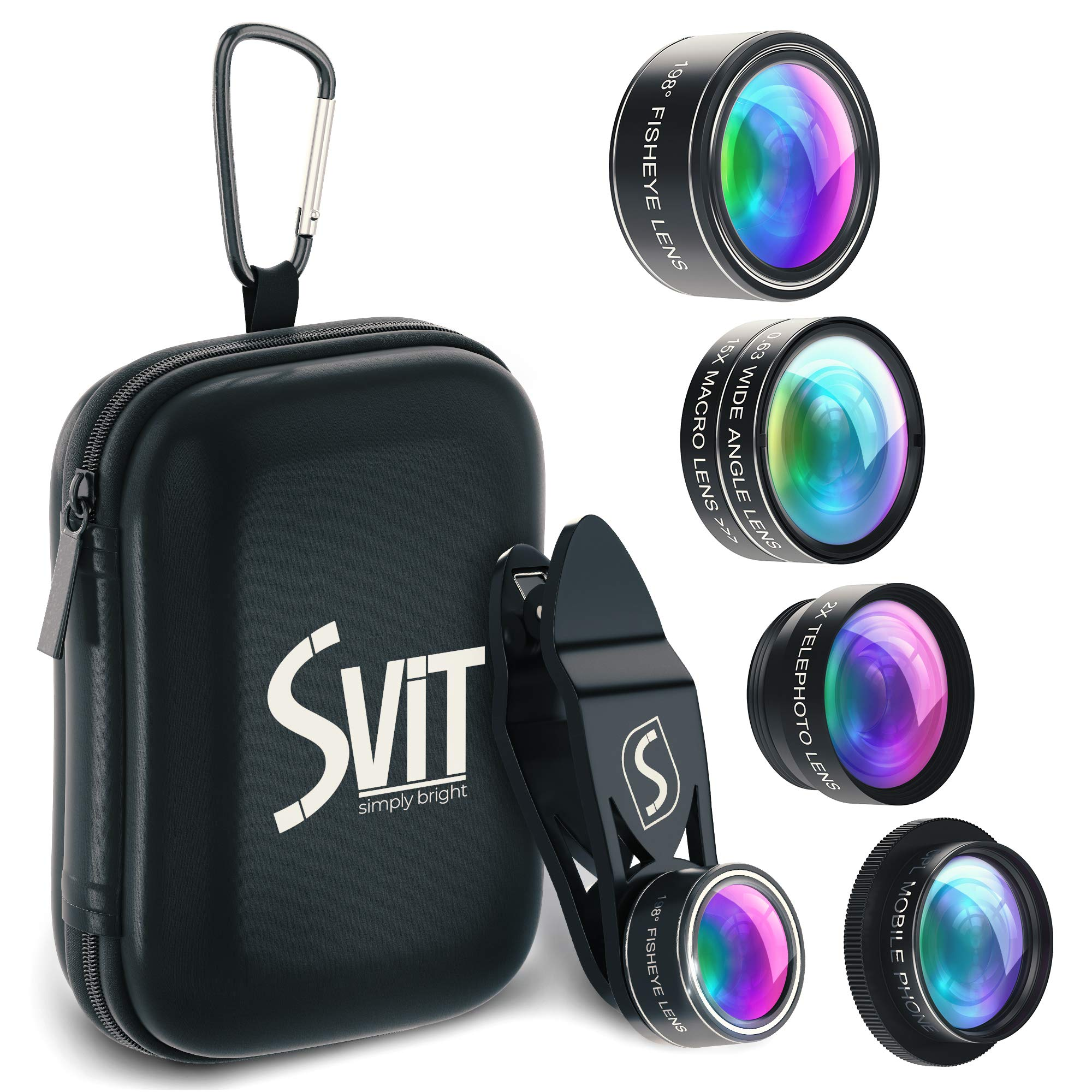 SVIT Phone Camera Lens Kit - 5 in 1 Optical Glass Mobile Attachment Set - 2X Zoom Telephoto, 198 Fisheye, 0.63X Wide Angle, 15X Macro, CPL Filter and Universal Clip Adapter for Cell Phones and Tablets by SVIT
