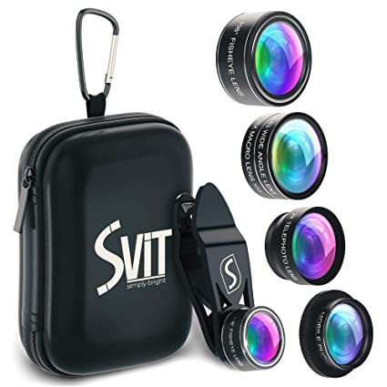 SVIT Phone Camera Lens Kit - 5 in 1 Optical Glass Mobile Attachment Set -  2X Zoom Telephoto, 198 Fisheye, 0 63X Wide Angle, 15X Macro, CPL Filter and