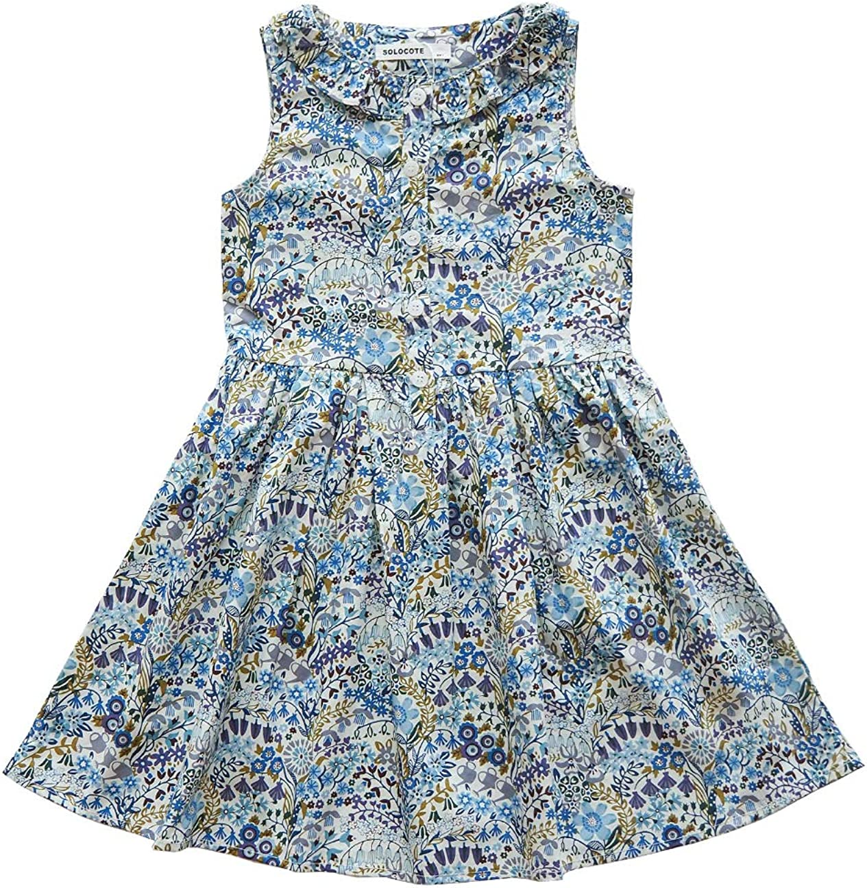 SOLOCOTE Girls Dress Floral Cotton Casual with Ruffle Kids Summer Dresses  Youth Sleeveless Sundress Size 7-7Y