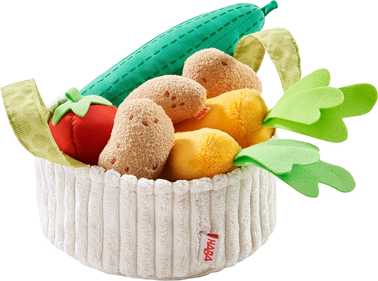 HABA 304230 Vegetable Basket for Shopping Shop and Children's Kitchen, Basket with Cucumber, Tomato, Carrots and Potatoes Made of Fabric, Toys from 3 Years