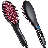 NOVA CLUB Simply 2 in 1 Straight Ceramic Hair Straightener, Curler and Styler Brush for Women (Multicolour)