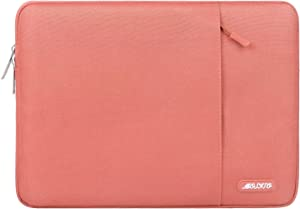 MOSISO Laptop Sleeve Bag Compatible with 13-13.3 inch MacBook Pro, MacBook Air, Notebook Computer, Water Repellent Polyester Vertical Protective Case Cover with Pocket, Living Coral
