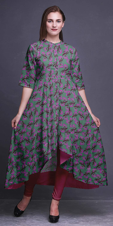 Bimba Anarkali Robe pour Femmes Col Mandarin Indien Kurtis Asym/étrique Kurta Porter Longue Indienne Kurti