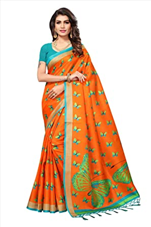 66e7a6cf62 Softieons Ecommerce Art Silk Butterfly Motifs Khadi Printed Saree With  Tassels (With Blouse Piece) (SOFT_287_VAR) [sarees ...